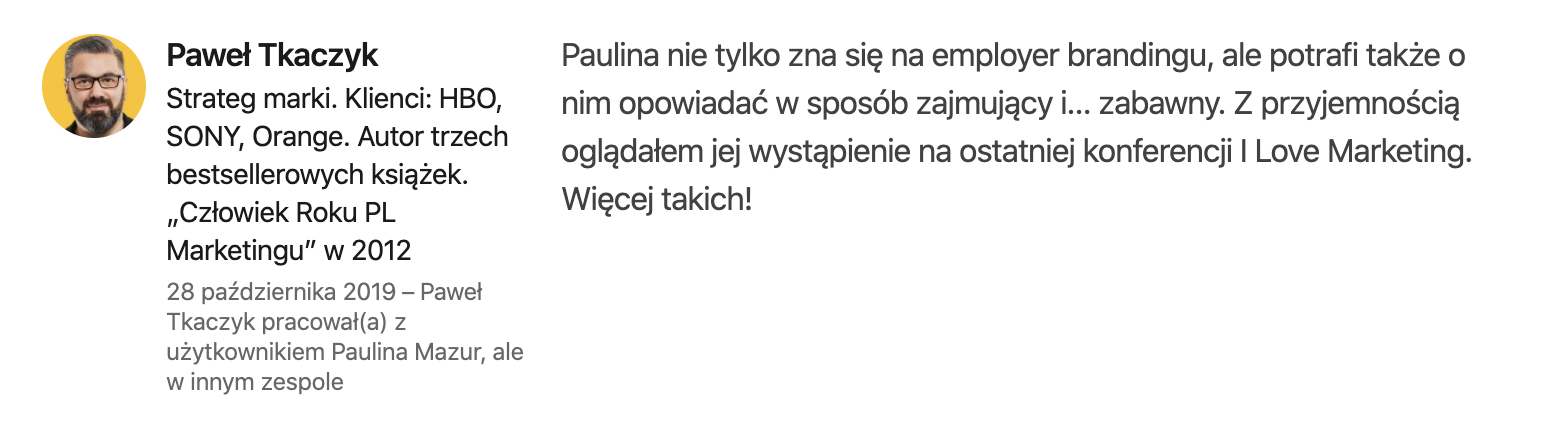 REkomendacje od Paweł Tkaczykj