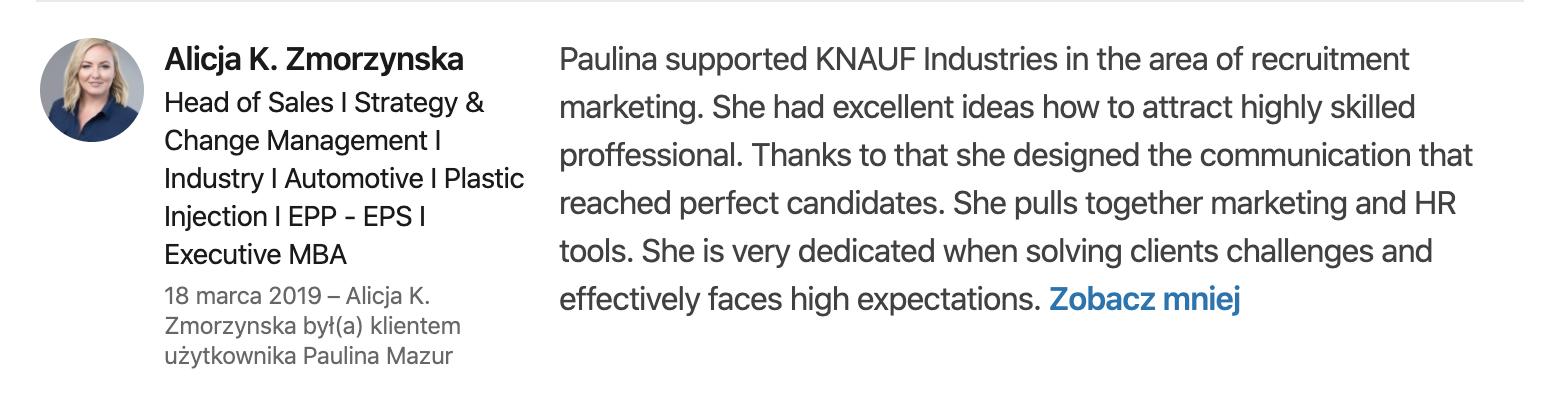 Rekomendacje KNAUF Industries dla Pauliny Mazur
