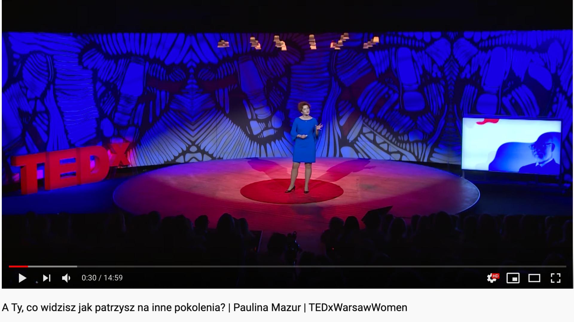 Paulina Mazur na scenie TEDx Warsaw Woman video na Youtube