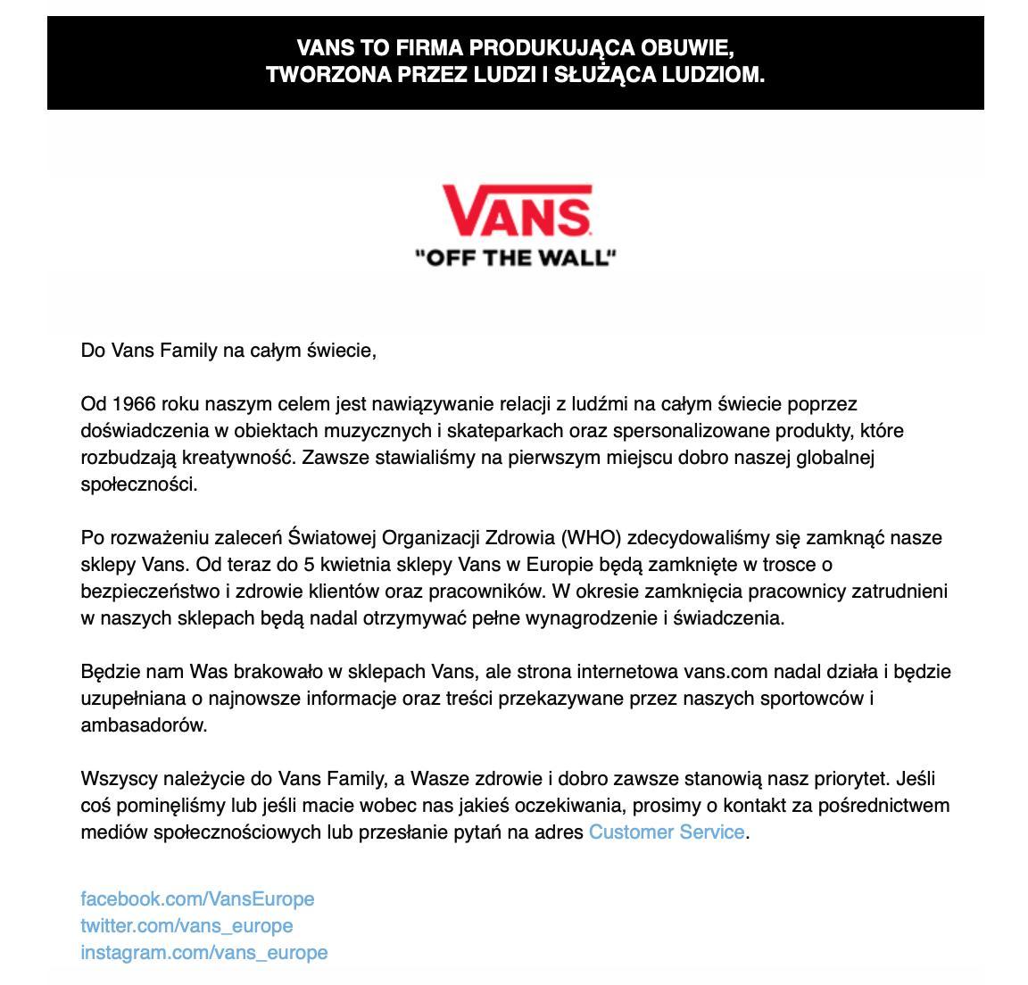 Vans Family list o zamknięciu sklepów