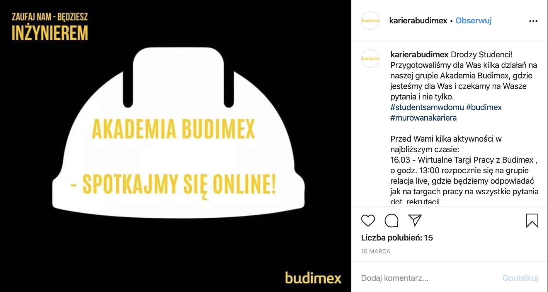 zrzut z instagram Kariera Budimex