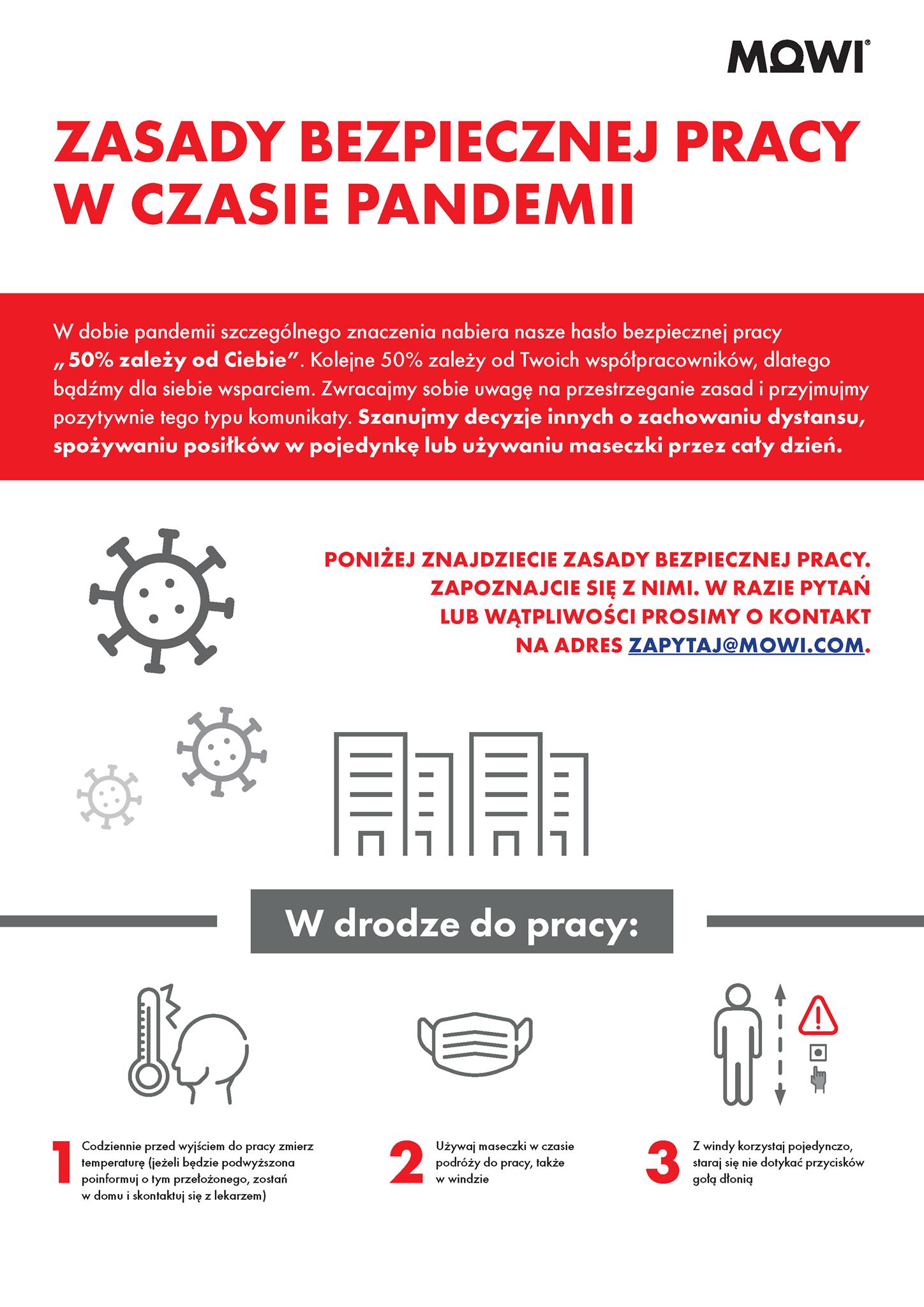 Zasady bezpiecznej pracy w czasie pandemii MOWI