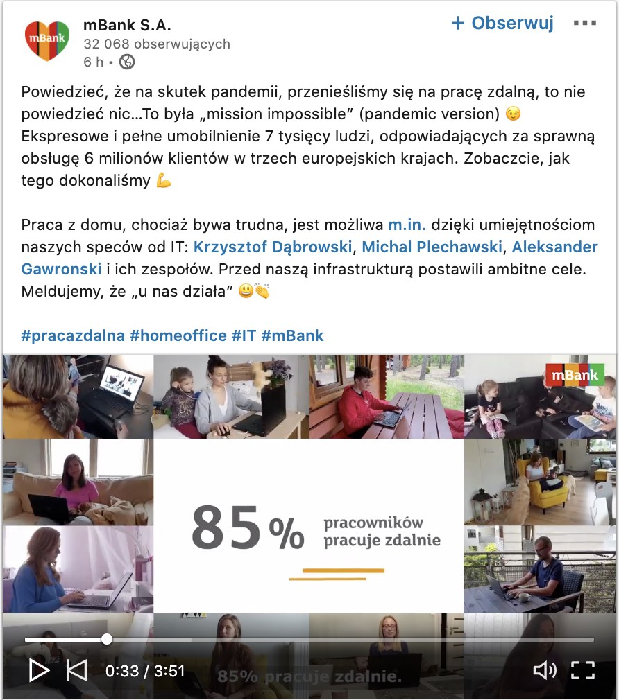 mbank video na Linkedin