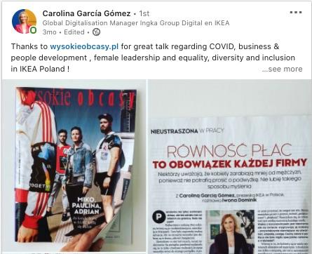 post Carolina Garcia Gome` Równość płci