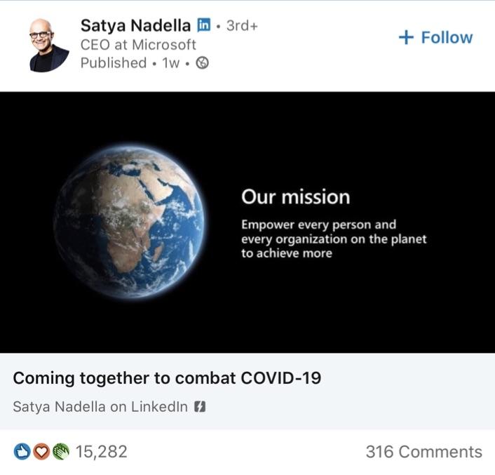 Satya Nadella post z Linkedin