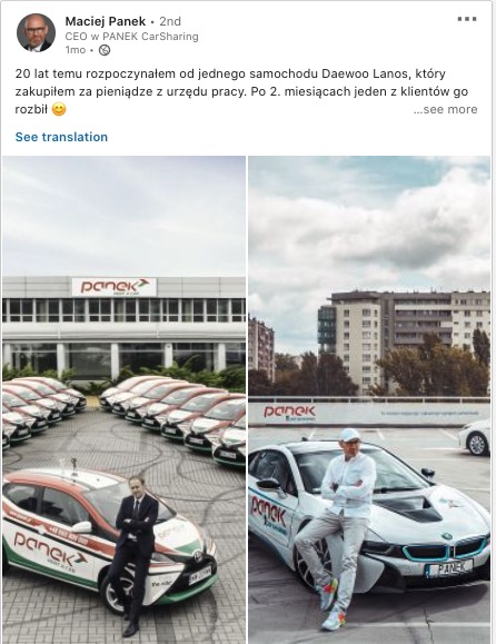Maciej Panek Carsharing post z Linkedin