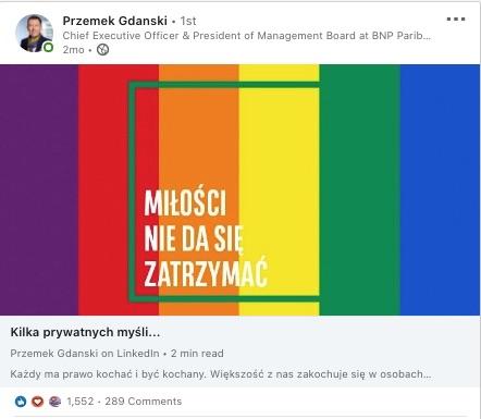Artykuł Przemka Gdańskiego na LInkedin o miłości