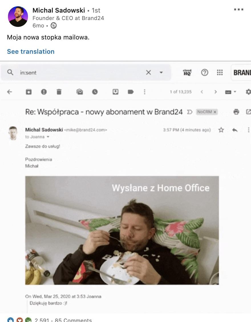 post Michał Sadowski LinkedIn
