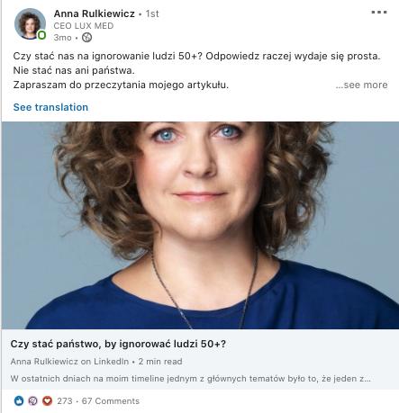 Anna Rulkiewicz Lux med artykuł o 50 plus na Linkedin