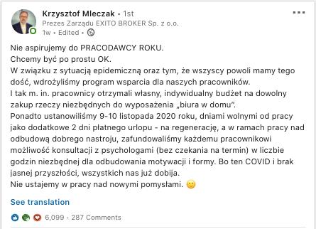 Krzysztof Mieczak post z Linkedin