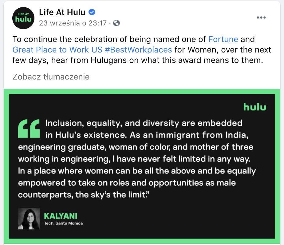 life at Hulu screen z FB